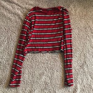Brandy Melville cropped striped long sleeve